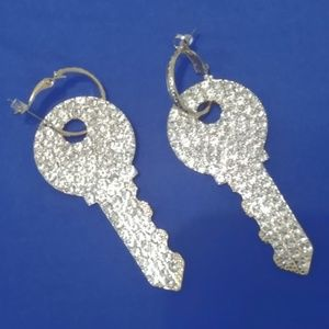 Gold Diamond Key Earrings